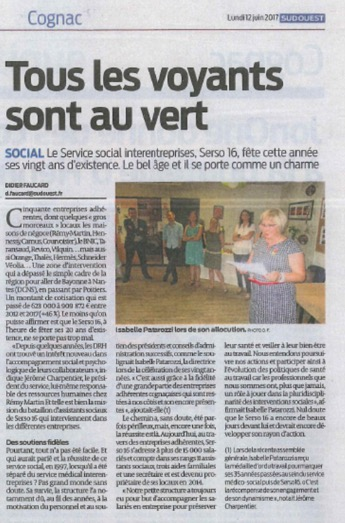Article Sud-Ouest 12.06.2017 Serso 16
